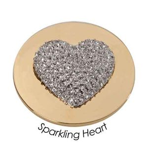 Quoins Coin (L) Sparkling Heart with Swarovski Yellow Gold PVD Plated QMOA-11L-G