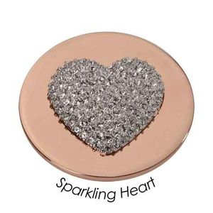 Quoins Coin (L) Sparkling Heart with Swarovski Pink Gold PVD Plated QMOA-11L-R