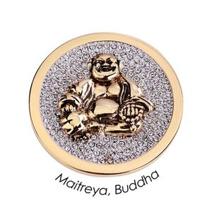 Quoins Coin (L) Maitreya Buddha with Swarovski Gold Plated QMOA-28L-G
