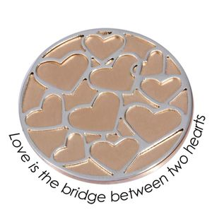 Quoins Coin (L) Love is the bridge between two hearts Pink Gold PVD Plated QMOD-07L-R