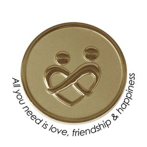 Quoins Coin (M) All you need is love, friendship & happiness Yellow Gold PVD Plated QMOZ-01M-G