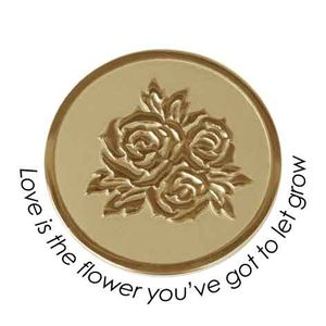 Quoins Coin (L) Love is the flower you've got to let grow Yellow Gold PVD Plated QMOZ-06L-G